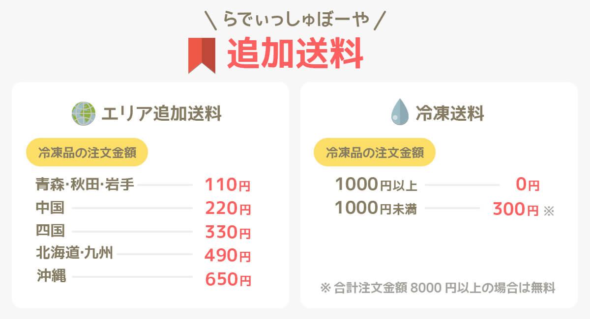 らでぃっしゅぼーやのエリア追加送料と冷凍送料の一覧