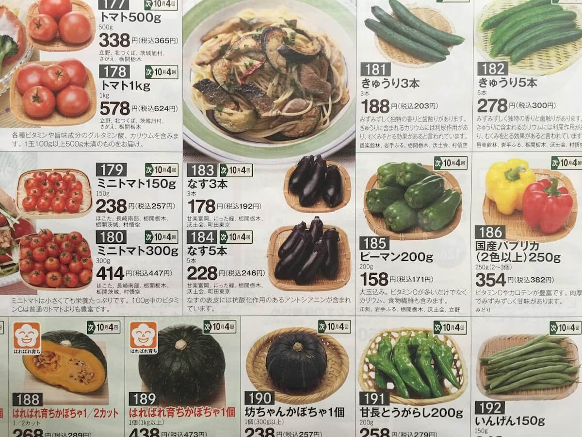 生活クラブの商品価格と配送料と出資金 野菜価格の一例